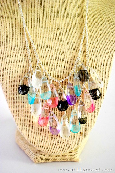 Painted Glass Statement Necklace byThe Silly Pearl
