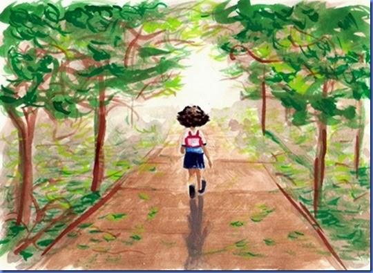 menina andando