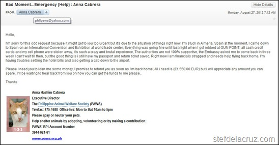 PAWS email scam
