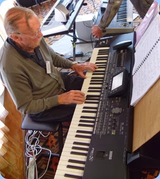 Colin Crann playing the arrival music on his new Korg Pa3X 76 note keyboard.