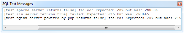 The failing test output notification window