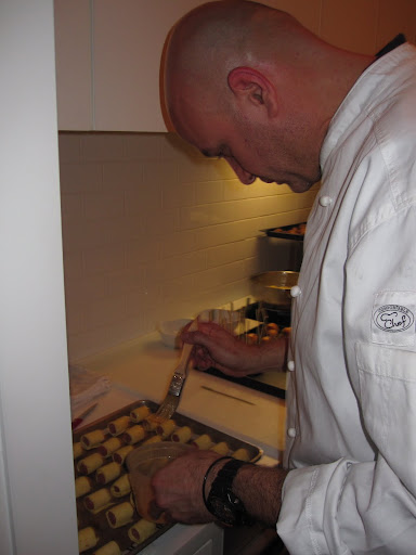 Chef Pierre Schaedelin preparing appetizers.