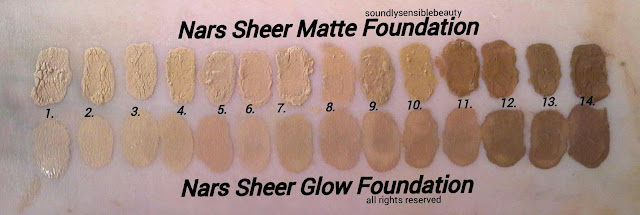 Nars Sheer Glow Foundation: Review & Swatches of Shades 1 Mont Blanc, 2 Deauville, 3 Fiji, 4 Punjab, 5 Vallarus, 6 Santa Fe, 7 Stromboli, 8 Barcelona, 9 Syracuse, 10 Tahoe, 11 Cadiz, 12 Macao, 13 New Guinea, 14 Trinidad