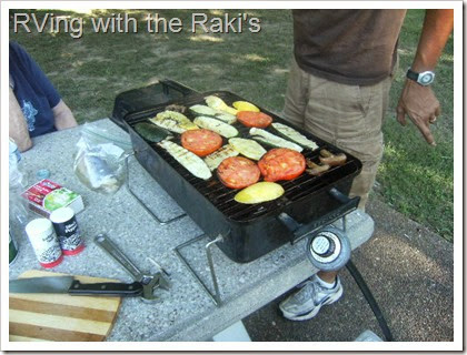 Grilling some fish and vegetables at the local rest stop is a quick and delicious way to save some money on a road trip.  RVing with the Raki's
