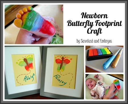Butterfly Footprint Craft {Sawdust and Embryos}