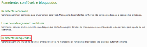 Remetentes bloquados - Hotmail