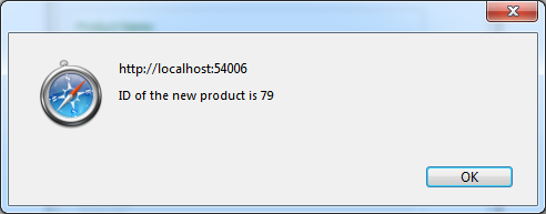 A confirmation with a product ID is displayed if a request to the application server of the web app has created a new product