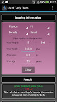 Screenshot of Ideal Weight BMI Adult & Child