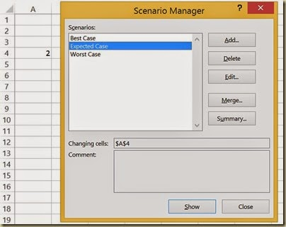 Scenario Analysis in Excel - Select Scenario 2