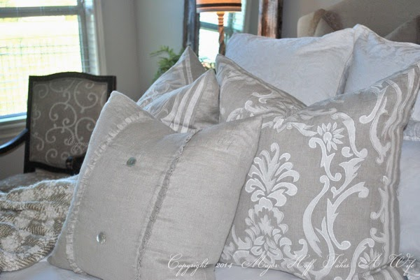 Beautiful Grey Gray fluffy pillows on bed Burlap ruffle pillow cover