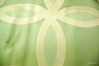 Ekskluzywna tkanina trudnopalna. Na zasłony, poduszki, narzuty, dekoracje. Zielona, kremowa.