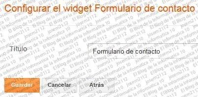 Formulario de contacto en Blogger  - configuración formulario de contacto