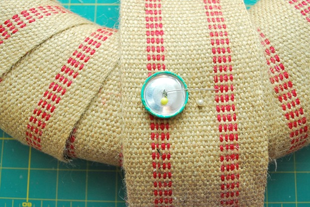 Covered Button Wreath 5