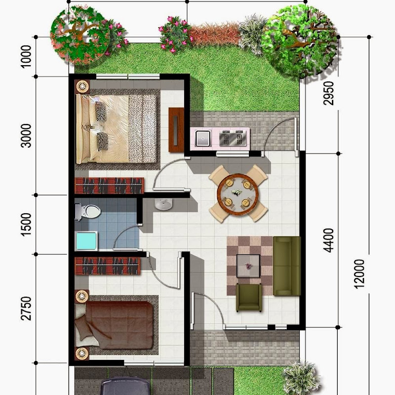 denah rumah minimalis type 45 gambar desain rumah