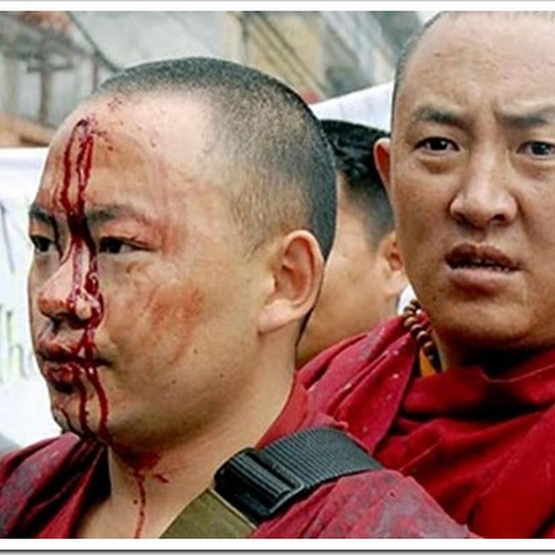 Hình ảnh Trung Quốc đàn áp Sư Tây Tạng máu chảy, tự thiêu