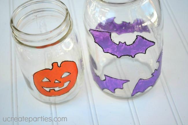 Halloween frascos de vidro