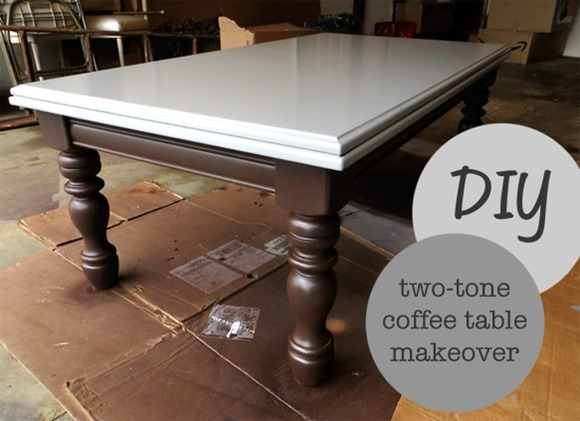DIY two toned coffee table