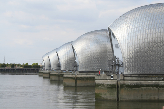 The Thames Barrier prevents flooding along the Thames River in England. There is significant risk of London being hit by a devastating storm surge in the Thames estuary by 2100 that could breach existing flood defences and cause immense damage to the capital, a study of global sea-level rise has found. Photo: Jason Walton / iStockPhoto.com