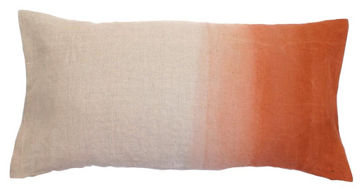 The fading on this linen pillow allows it to work well in both a modern and traditional setting.