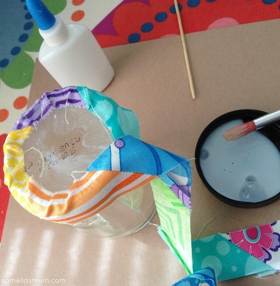 Scrap Fabric Glass Jar Decoupage 2