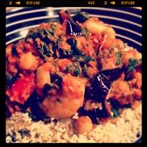 Day #81 - 600 calorie supper of paprika prawns, chilli baked aubergine, chickpeas, sundried tomatoes and couscous