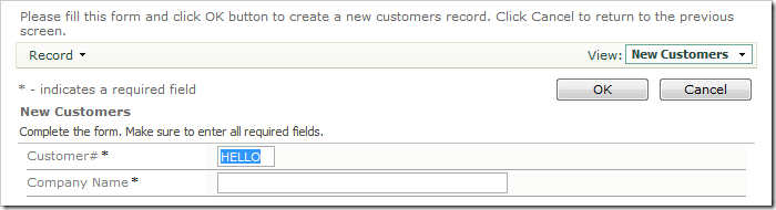 The lowercase text in CustomerID field has been converted to uppercase.