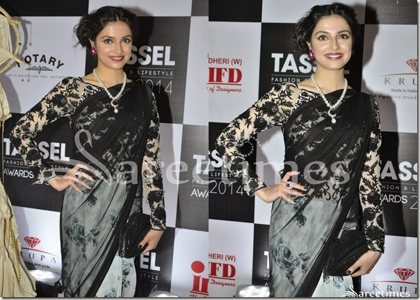 Divya_Khosla_Black_White_Half_and_Half_Saree(2)