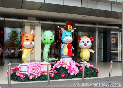 Colorful animals of the Chinese zodiac displayed at the entrance of Queensbay Mall