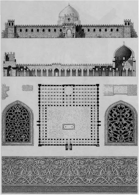 Al-Zahir mosque, plan, elevation, & details, 13th century. Although the mosque was already in ruins by the time of Napoleon's expedition, Prisse, inspired by the remnants, proposed layout schemes and parallels the fine decoration with that of its contemporary, Granada's Alhambra.