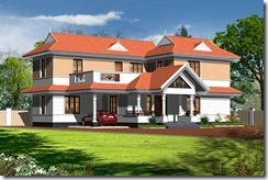three dimensional elevation for four bed house 2400 sft for gulf based
