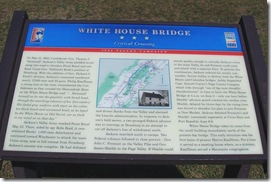 White House Bridge Civil War Trails marker close up (Click any photo to enlarge)