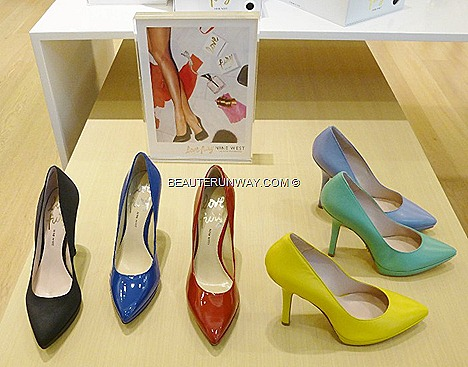 Nine West Love Fury fragrance specially designed Perfume EDP branded pump platform heel, pointed toe style blue baby black red yellow bright green satin patent leather sandals wedges slip on mules Eau de Parfum crystal glass bottle