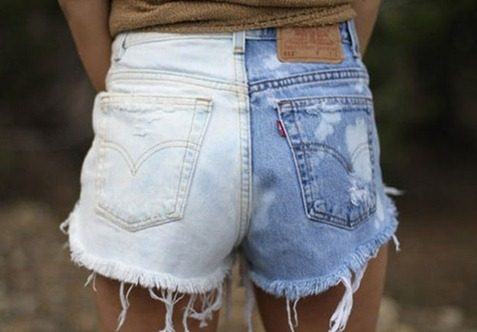 Shorts desteñidos en horizontal