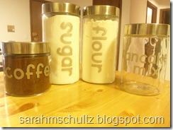 Labeled glass jars