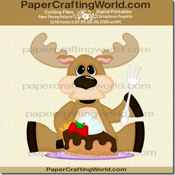SVG Paper Piecing chocolate moose die cut file