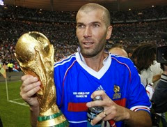 Zidane holding the World Cup Trophy