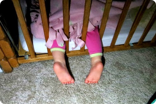 Liberty's Feet out of the crib