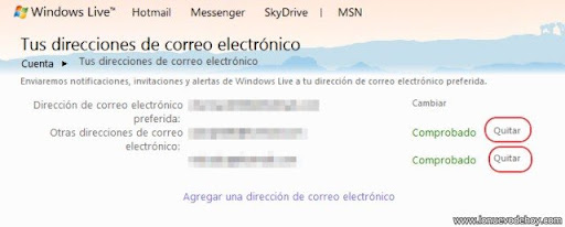remover un alias en Hotmail