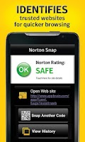 Screenshot of Norton Snap qr code reader