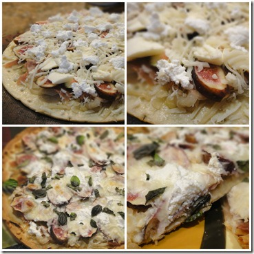 collage fig ricotta pizza