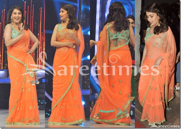 Madhuri_Dixit_Orange_Net_Saree