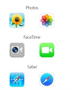 Imagen con la comparativa de los íconos en iOS 6 y iOS 7