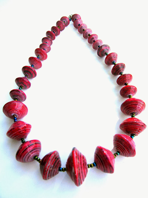 Chunky Disk Paper Bead Necklace
