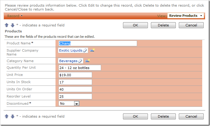 Supplier Company Name field on the Products edit form with Lookup item style.