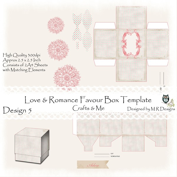 Love & Romance Favour Box Design 5 Front Sheet