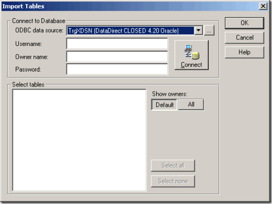 Informatica Source Definition Database import