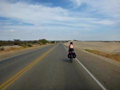Entering the Sechura Desert in Peru.