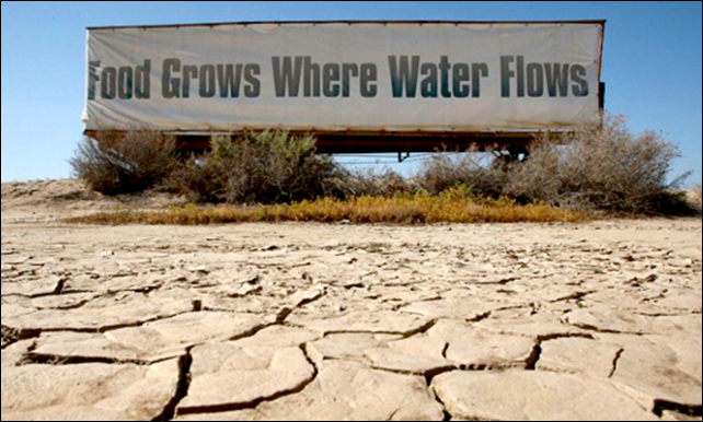 A sign above a dessicated river bed in California's Central Valley reads, 'Food Grows Where Water Flows'. The Central Valley—prime agricultural land—is being hit the hardest by the state-wide drought which could cause catastrophic losses to crops and food supply. Photo: Center for American Progress / EcoWatch