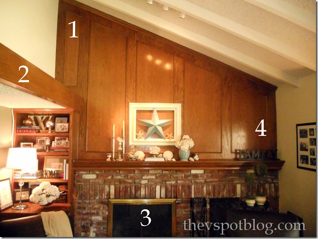 mantel. fireplace, vaulted ceiling, asymmetrical, paneling,