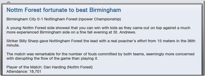 Forest fortunate to beat Birmingham